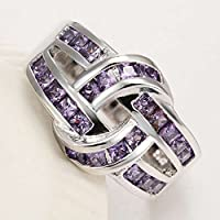 Sumanee Women Fashion 925 Sterling Silver Amethyst Twist Rope Wedding Engagement Ring (7)