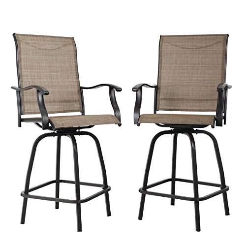 PHI VILLA Swivel Bar Stools All-Weather Patio Furniture, 2 Pack (Garden Assembled Fully Furniture)