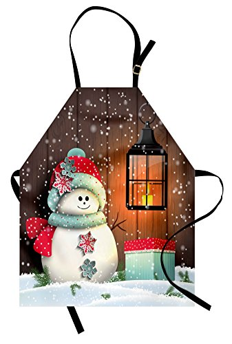 Ambesonne Christmas Apron, Snowman with Santa Hat