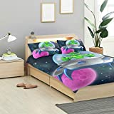 KVMV Cartoon Alien Spaceship Flying Saucer Space Duvet Cover Set Design Bedding Decoration Queen/Full 3 PC Sets 1 Duvets Covers with 2 Pillowcase Microfiber Bedding Set Bedroom Decor Accessories