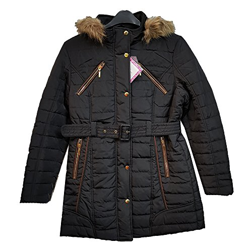 (Eliza Gray) Sell by Suit and Suit New Women Designer Line Padded Winter Ladies Fur Belt Hooded Puffer Coat Jacket Black