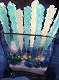 12 Light Blue, 12 White, 24 Rock Candy Sticks in Total - Blue Is Cotton Candy Flavored, White Is Natural Sugar Flavored. Free E- Book Created By Candy Buffet Store, How to Build a Candy Buffet Table!