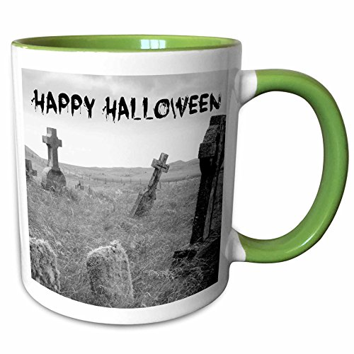 3dRose Xander holiday quotes - happy Halloween black letters on picture of scary tombstones - 15oz Two-Tone Green Mug (mug_201869_12) -