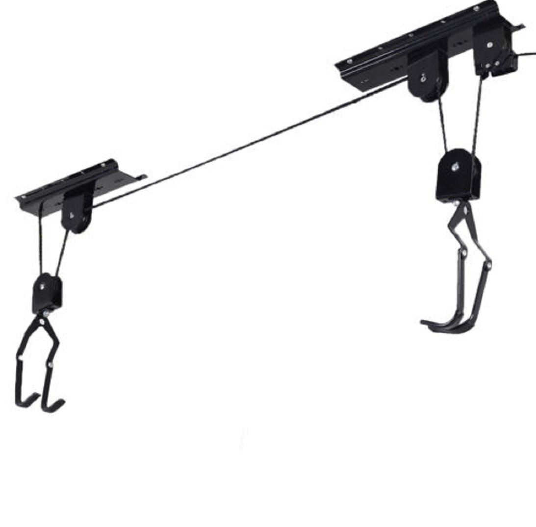 New Bike Bicycle Lift Ceiling Mounted Hoist Storage Garage Organization Hanger Pulley Rack