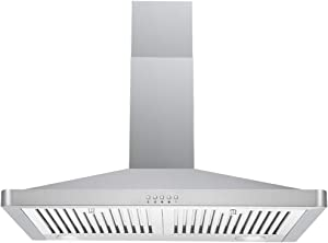 "DKB Range Hood DKB-168M-30 30"" Inch Wall Mount Stainless Steel Kitchen Exhaust Vent With 400 CFM, 3 Speed Fan and Push Button Control Panel"