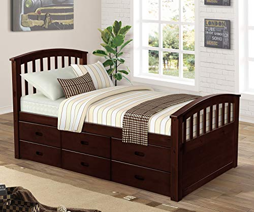 (Danxee 6 Drawers Platform Single Footboard daybed Trundle Bed Twin Frame Teen Kids beds Storage White Walnut Captains Bed Drawers Bedroom Furniture (Espresso))