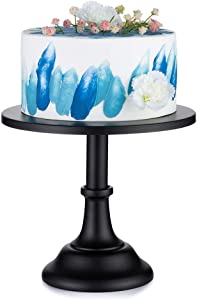 10 inches/ 25cm Cake Stand Round Cupcake Stands Metal Dessert Display Cake Stands, Metal Cake Pedestal, Snack Tray, Baking Party Supplies Centerpiece (Black, Diam 10