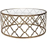 Open Gold Iron Quatrefoil Coffee Table | Lattice Arabesque Metal