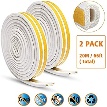 SUNMON Door Seal D-Type Strip Weather Stripping Self Adhesive Foam for Doors and Windows Soundproofing Weatherstrip Gap Collision Avoidance(White)