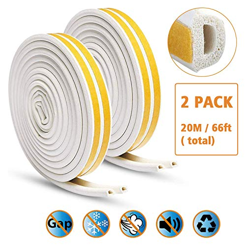 KELIIYO Door Weather Stripping, Window Seal Strip for Doors and Windows- Self-adhisive Foam Weather Strip Door Seal | Soundproof Seal Strip Insulation Gap Blocker Epdm D Type 66ft(20m) 2 Pack (White) (Installing Weather Stripping On Bottom Of Door)