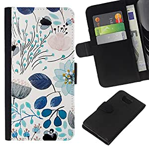Stuss Case / Funda Carcasa PU de Cuero - Primavera azul del trullo florales Flores Patrš®n - Samsung ALPHA G850