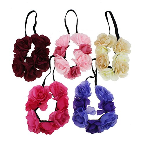 Rosette fashion original single ribbon 7 with new hair flower elastic headband with three colors tag for women girl lady