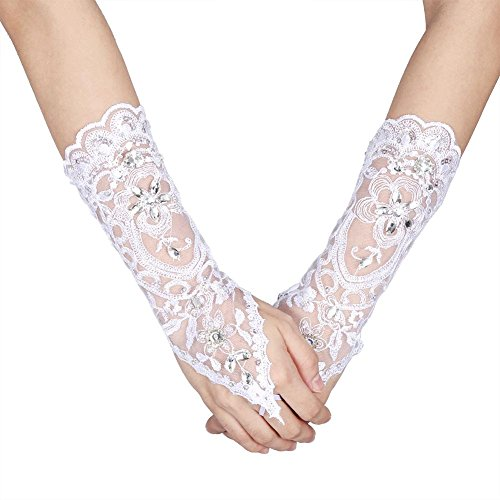 Lacey Ivory Rhinestone Fingerless Gloves for Brides Accessory Wedding Prom Party (White)
