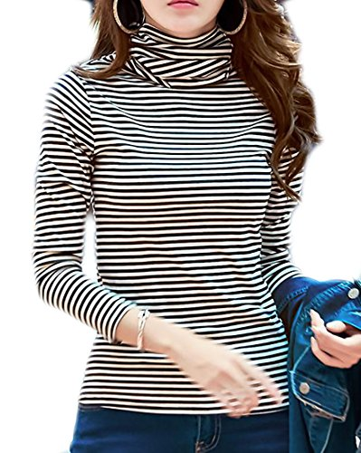 Cheap Papijam Womens Slim Turtleneck Stripe Long Sleeve Thicken Top Shirts free shipping izQlSyyM