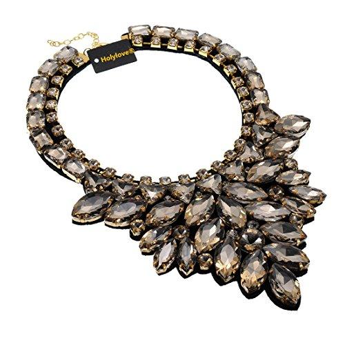 Holylove Tawny Fashion Handmade Glass Unique Choker Statement Necklace Jewlry–773