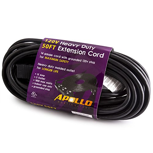 Apollo Horticulture 14 Gauge 120V Heavy Duty 50ft Extension Cord with 3 Outlet Power Strip