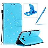 Wallet Case for Samsung Galaxy J5 2016 J510,Strap Portable Leather Case For Samsung Galaxy J5 2016 J510,Herzzer Stylish Bling Diamonds Blue Butterfly Embossed Pu Leather Purse Pouch Magnetic Closure Flip Folio Protective Case