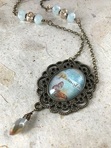 Inspirational Pendant Necklace Quote Art Jewelry Vintage Style Antique Bronze and Light Blue Glass Dome Cabochon Collage -