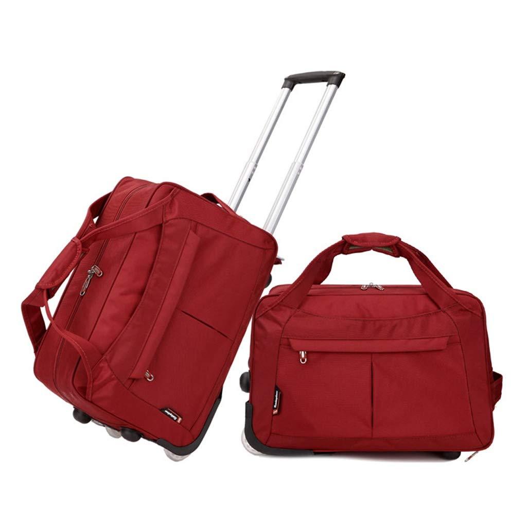 LUJIANJU トロリーバッグ、トロリーケース、防水トラベルバッグ、ダッフルバッグ、ハンドバッグ、ミュートホイール、大容量 - オックスフォードターポリン、ユニセックス、折り畳み式 LUJIANJU (Color : Dark red, Size : 60L) B07KVV3QMD Dark red 60L