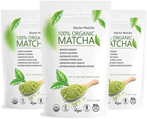 Starter Matcha USDA Organic Green Tea Powder - Culinary Grade 12oz - 3 pack