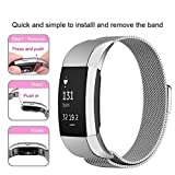 IOQSOF For Fitbit Charge 2 Bands, Milanese Loop Stainless Steel Bracelet Smart Watch Strap Newest Style Replacement Wristband for Fitbit Charge 2 Women and Men Large Small