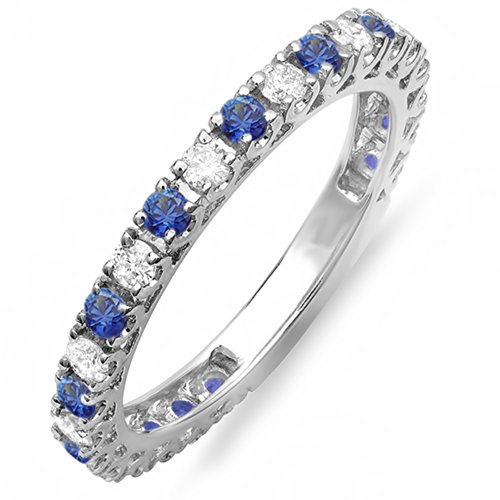 - Dazzlingrock Collection 14K Blue Sapphire And White Diamond Eternity Sizeable Stackable Ring Wedding Band, White Gold, Size 7