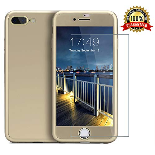 iPhone 7 Plus case/iPhone 8 Plus case,360 Full Body Protection Anti-Scratch Resistant Slim Case Non Slip Surface with Tempered Glass Screen Protector for iPhone 7 Plus/iPhone 8 Plus (Gold)