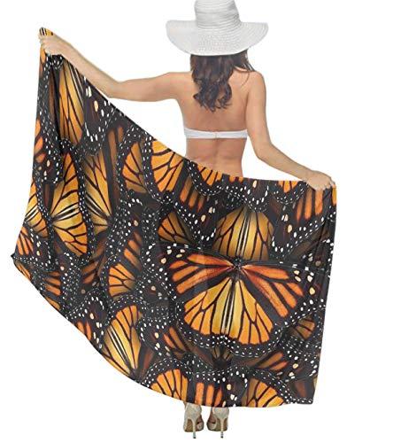 - Perfect Gift - Women Girl Fashion Travel Shawl Wrap Summer Vacation Beach Towels Chiffon Scarf Bikini Beachwear Sarong Wrap Swimwear Cover Up (Heaps Of Orange Monarch Butterflies)