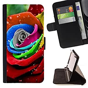 DEVIL CASE - FOR Apple Iphone 5 / 5S - Rainbow Rose Flower Floral Petal Red - Style PU Leather Case Wallet Flip Stand Flap Closure Cover