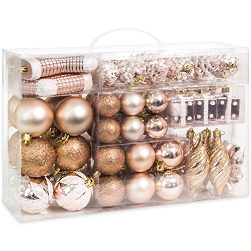 Best Choice Products Set of 72 Handcrafted Assorted Shatterproof Hanging Christmas Ornaments Decoration w/Embossed Glitter Design - Rose Gold