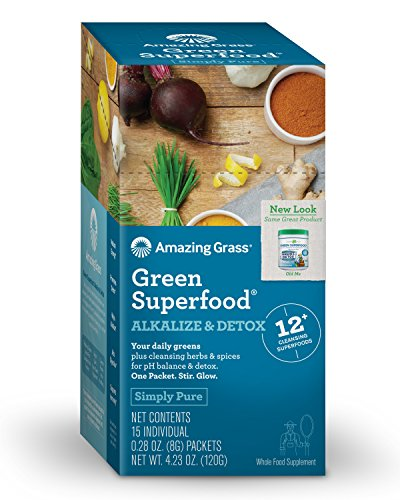 Amazing Grass Green Superfood Alkalize & Detox Powder, Box of 15 Individual Servings, 0.28oz, pH Balance, Spirulina, Alfalfa, Turmeric Root, Goji, Acai, Probiotic, Digestive Enzyme, greens, vitamins