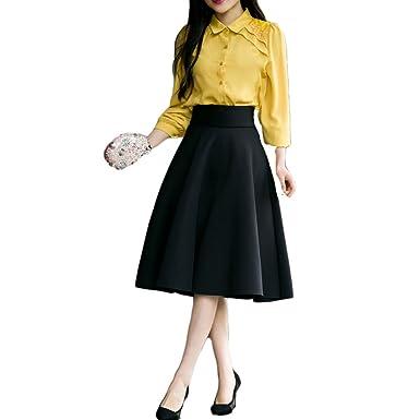 5deeda31b E.a@market Women's High Waist A-line Skirt Bust Long Skirt Bubble Skirt  Pleated