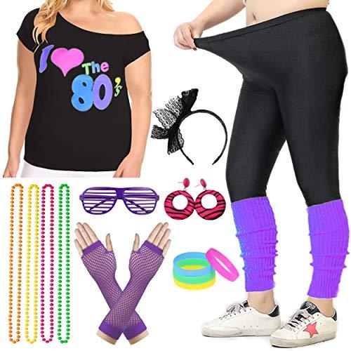 Women Plus Size 80s T-Shirt Pop Party Fancy Costume Outfit Accessory (3XL/4XL, Purple)