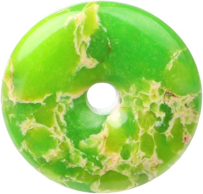 SUPVOX 1pc 40mm colgante de jaspe piedra preciosa donut colgante retro forma de rosquilla colgante de jaspe duradero joyería de jaspe (verde)