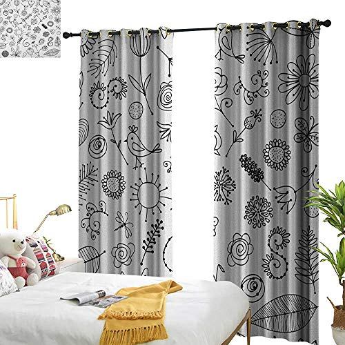 (WinfreyDecor Light Luxury high-end Curtains Doodle Things from Nature in Sketch Form Birds Flowers Strawberry Sunflower Ferns Print for Living, Dining, Bedroom (Pair) W108 x L96 Black White)
