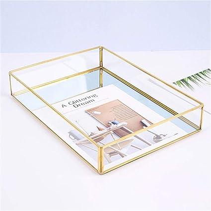 XISTORE Bandeja de Almacenamiento de Metal con Espejo Decorativo, diseño Vintage, Color Dorado y