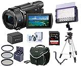 SONY FDR-AX53 4K Camcorder Black Bundle Kit  Camera Bag + 32GB Card + 160 LED On Camera Light +Extra Battery Pack + 55mm Filter Kit + 61