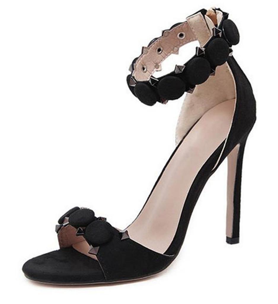 noir-41 LNGXE Femmes Sandales à Talons épais Sandales à la Mode Chaussures à Fleurs Ouvertes Chaussures à Talons Hauts à Talons Hauts