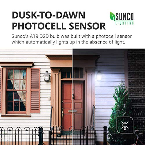 Sunco Lighting 6 Pack A19 LED Bulb with Dusk-to-Dawn, 9W=60W, 800 LM, 5000K Daylight, Auto On/Off Photocell Sensor - UL