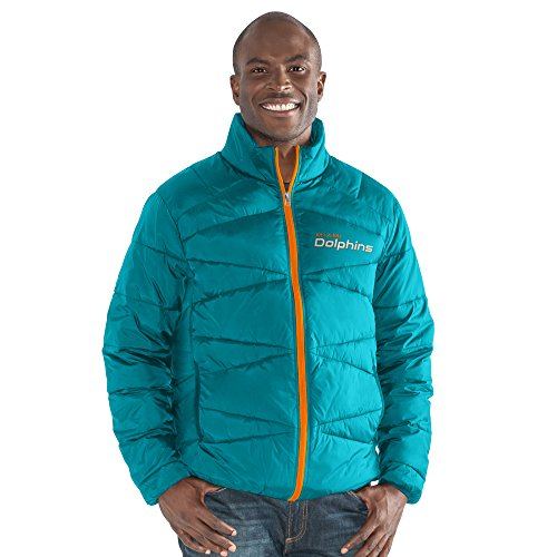G-III Sports NFL Miami Dolphins The Blitz Full Zip Packable Jacket, Medium, Aqua (G-iii Mens Jacket)