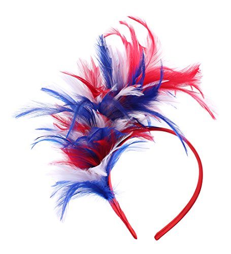 Felizhouse 1920s Fascinator with Feathers Headband for Women Kentucky Derby Wedding Tea Party Headwear (US Flag Color Red Blue White) -