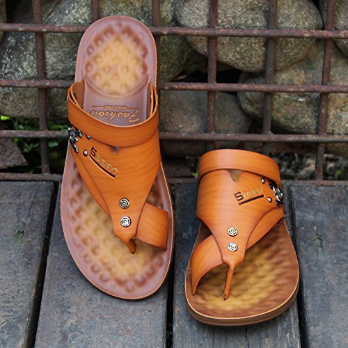 para 39901 Amarillo Chanclas ZHANGJIA Cool Sandalias Moda Sandalias Veraniega Verano Inferior 43 Blanda Toe Hombres Antideslizante Zapatillas qx0ZRIBw0