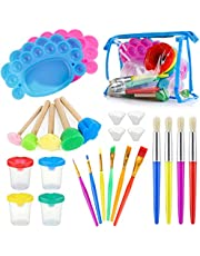 Kids Painting Tool Kit, 25pcs Non-Spill Paint Cups with Lids and Palette, Multi Sizes Watercolor Paint Brushes Sponge Brushes, Non Toxic Children Finger Painting Drawing Tools for Toddlers Gift