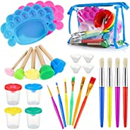 Kids Painting Tool Kit, 25pcs Non-Spill Paint Cups with Lids and Palette, Multi Sizes Watercolor Paint Brushes