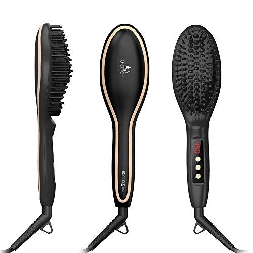 USpicy US-FS005 Hair Straightener Brush with FREE Heat Resistant Glove Hair Straightening Brush for Silky...