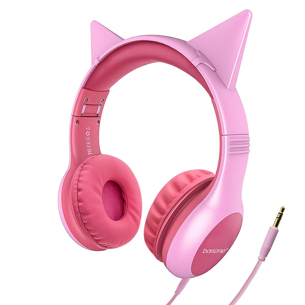 Girls Headphones Kid Friendly 85dB Volume Limited, Barsone Durable Detachable Wired Cat Ears Headphones Over-Ear with Sharing Function for Kindle/iPad/School/Children/Kids (Pink)