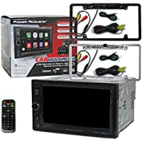 Power Acoustik CP-650 Car audio Double Din 2DIN 6.5 Digital Media with Apple CarPlay Bluetooth and Remote + DCO Full License plate back-up camera (Optional Color)