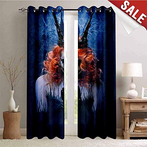 Hengshu Queen Blackout Window Curtain Queen of Death Scary Body Art Halloween Evil Face Bizarre Make Up Zombie Customized Curtains W84 x L96 Inch Navy Blue Orange Black]()