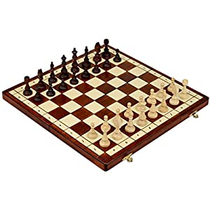 """Full Sized Magnetic Wooden Portable Chess Game Set - 15"""""""