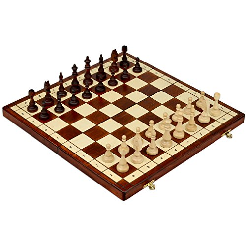 Full Sized Magnetic Wooden Portable Travel Chess Game Set, 15 Inches (Set Number Magnetic)